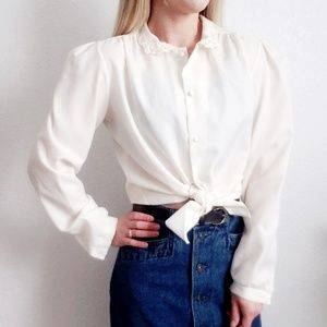 80s Vintage Ivory Beaded Button Down Blouse 685